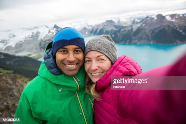 mountain top selfie - garibaldi park stock pictures, royalty-free photos & images