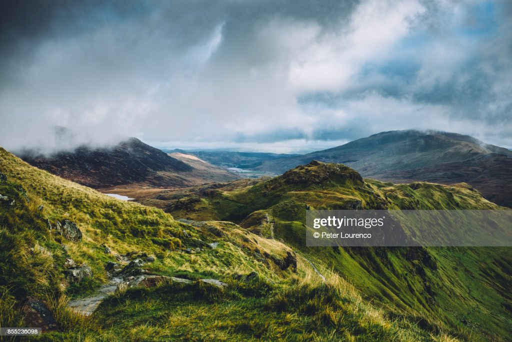 Mountain top view from Snowdonia : Stock Photo