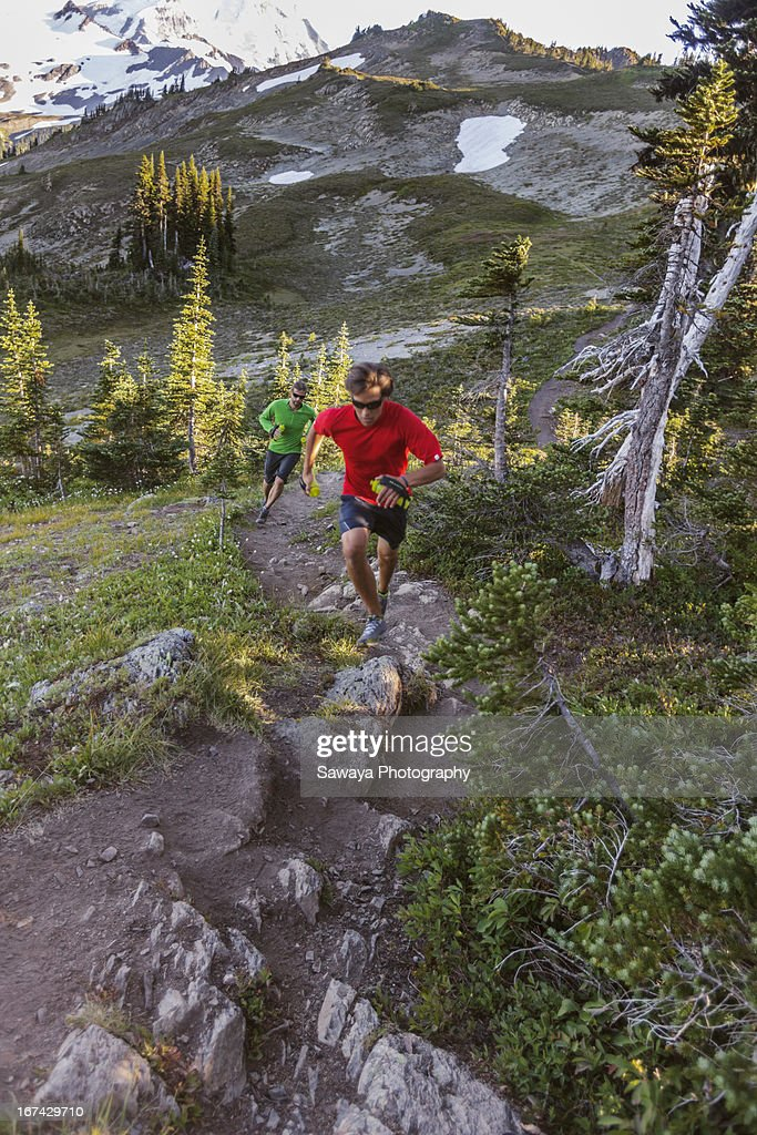 Mountain trail running in the North Cascades : Stock Photo