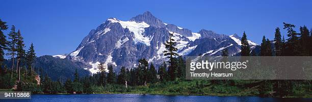 mountain, trees and lake - timothy hearsum imagens e fotografias de stock