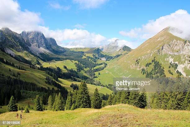 Mountain view around the mountain range of the Gastlosen, Swiss Alps