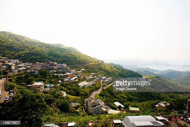 mountain view of jinguashi, former mining town, ruifang district, new taipei, taiwan - new taipei city stock pictures, royalty-free photos & images
