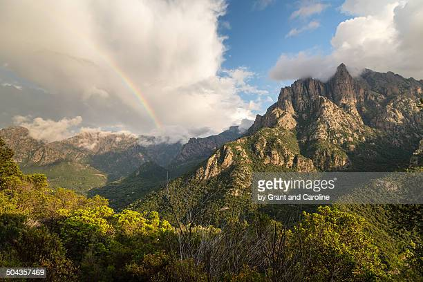 Mountain View with Rainbow near Porto, Corsica