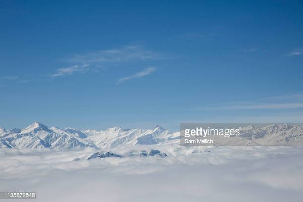 Mountain views on the 5th April 2019 in Laax ski resort in Switzerland