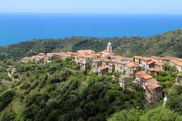 Mountain village above the Mediterranean Sea, Cannicchio, Pollica, Cilento, Campania, Salerno, Italy