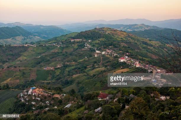 mountain village during sunset.