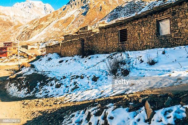 Mountain village in the Himalaya.