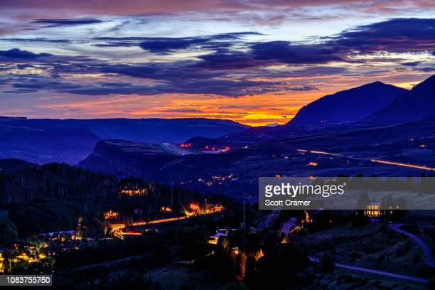 mountain village telluride at dusk scenic sunset - mt wilson colorado stock photos and pictures