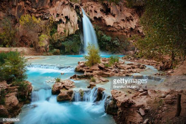 mountain waterfall, arizona, usa - havasu creek stock photos and pictures