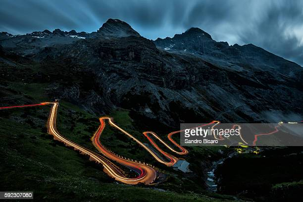 Mountain Winding Road at night with traffic lights