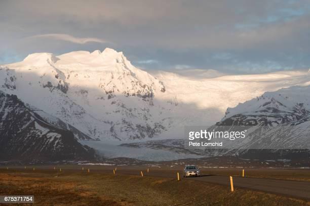 mountain winter sunset iceland - austurland stock-fotos und bilder