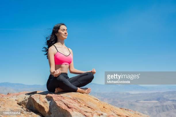 mountain zen yoga - anza borrego desert state park stock pictures, royalty-free photos & images