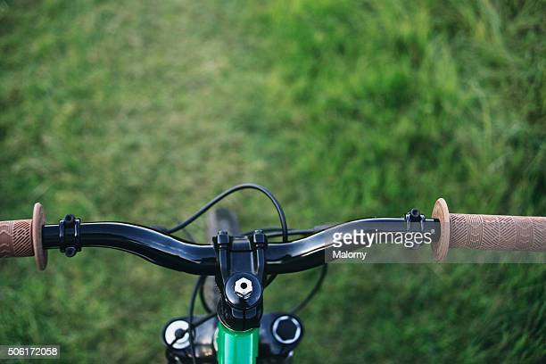 Mountainbike handlebar. Personal point of view. PoV.