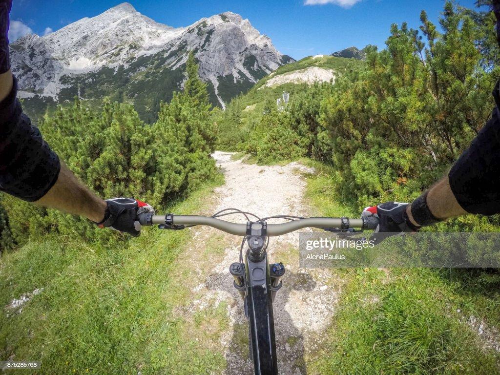 Mountainbike ride in Alps POV : Stock Photo