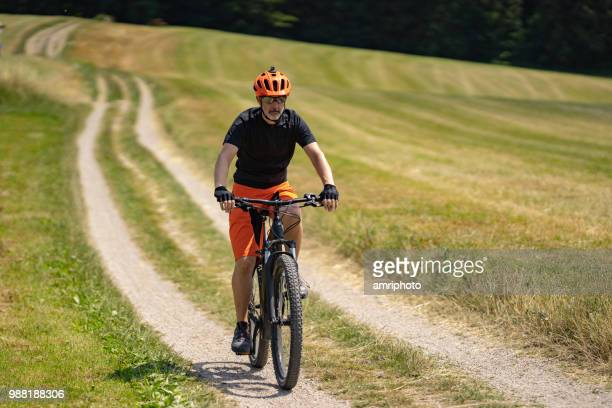mountainbiker in rural landscape