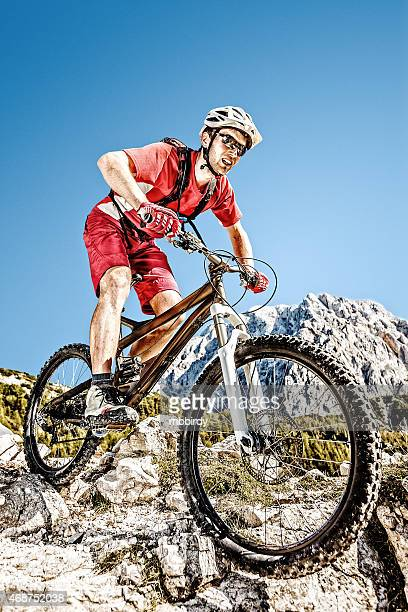 Mountainbiker on steep trail