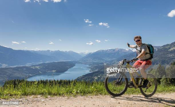 mountainbikers are wellcome to carinthian mountains, austria ! - carinthia stock pictures, royalty-free photos & images