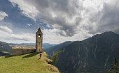 Mountainbiking at the edge of San Romerio, Switzerland.