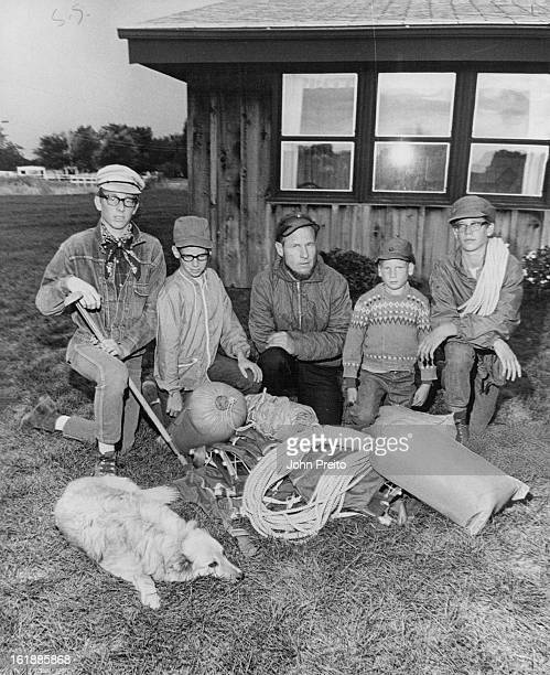 Mountain-Climbing Smith Family Gathers On Front Lawn After Conquering Washington's Top Peak; From left are Flint, 17; Cody, 12; George Nash Smith;...