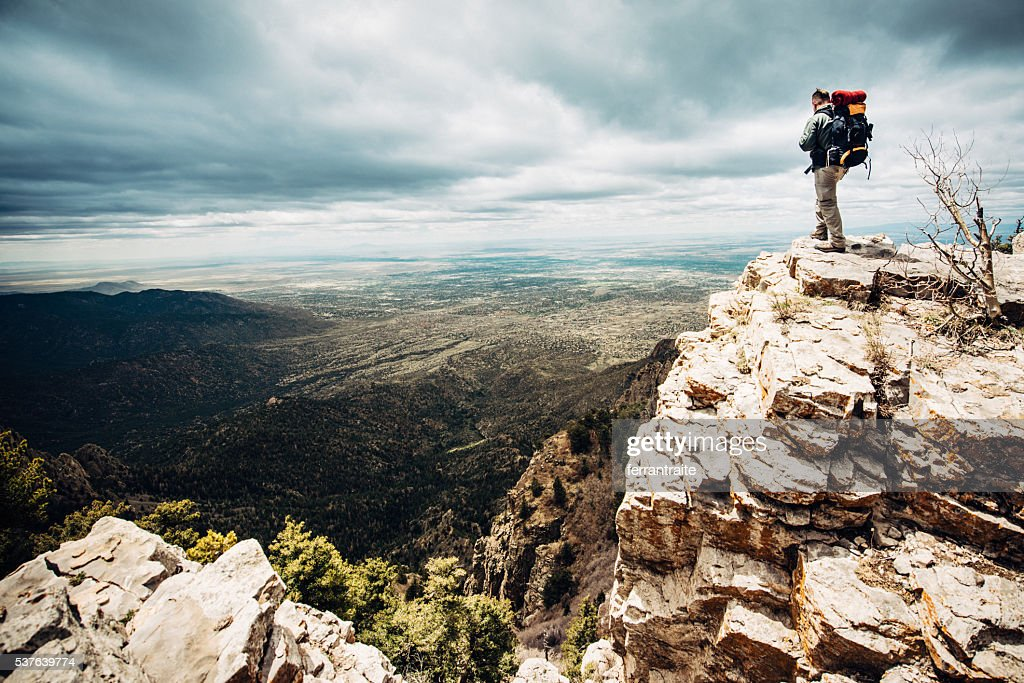 Mountaineer at the Summit : Stock Photo