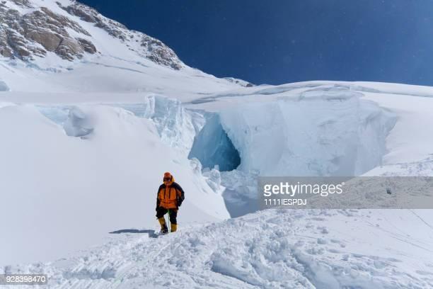 Bergbeklimmer neerdaalt op Denali.