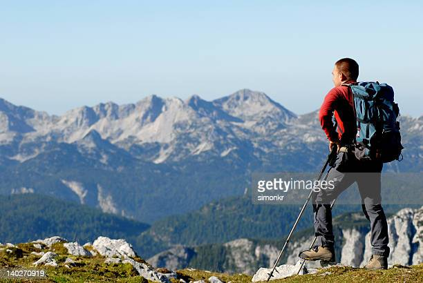Mountaineer hiking in mountains