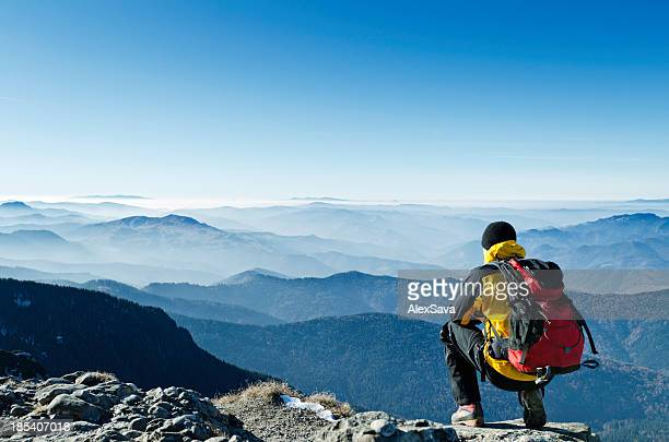 mountaineer looking at view