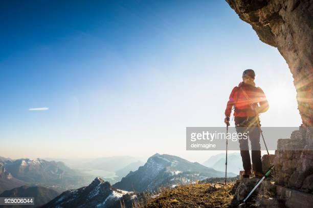 mountaineer on mountain ridge - alaska stock pictures, royalty-free photos & images