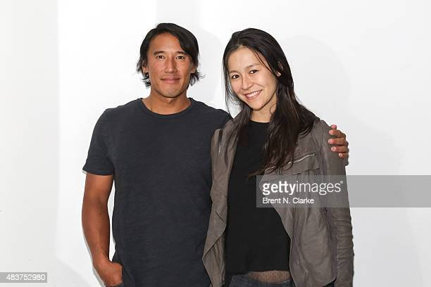 Mountaineer/director Jimmy Chin and codirector Elizabeth Chai Vasarhelyi pose for photographs during the 2015 Film Society of Lincoln Center Summer...