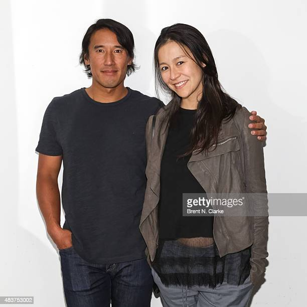 Mountaineer/director Jimmy Chin and co-director Elizabeth Chai Vasarhelyi pose for photographs during the 2015 Film Society of Lincoln Center Summer...