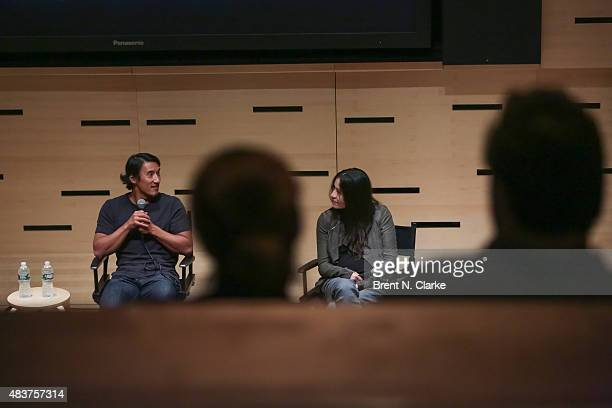 Mountaineer/director Jimmy Chin and codirector Elizabeth Chai Vasarhelyi speak on stage during the 2015 Film Society of Lincoln Center Summer Talks...