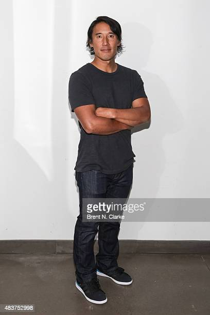 Mountaineer/director Jimmy Chin poses for photographs during the 2015 Film Society of Lincoln Center Summer Talks with Meru held at the Elinor Bunin...