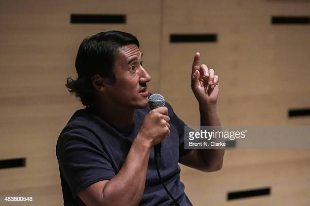 Mountaineer/director Jimmy Chin speaks on stage during the 2015 Film Society of Lincoln Center Summer Talks with Meru held at the Elinor Bunin Munroe...