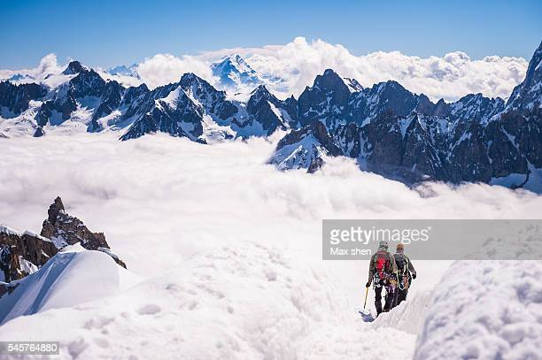 Mountaineering at Aiguille du Midi in Chamonix Mont Blanc, France.
