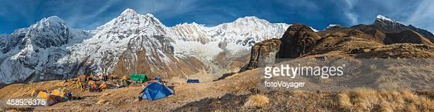 Mountaineering expedition base camp Annapurna Himalayas Nepal