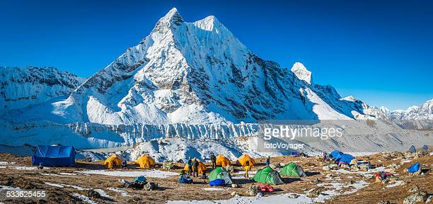 Mountaineering expedition base camp panorama Himalaya peaks Nepal