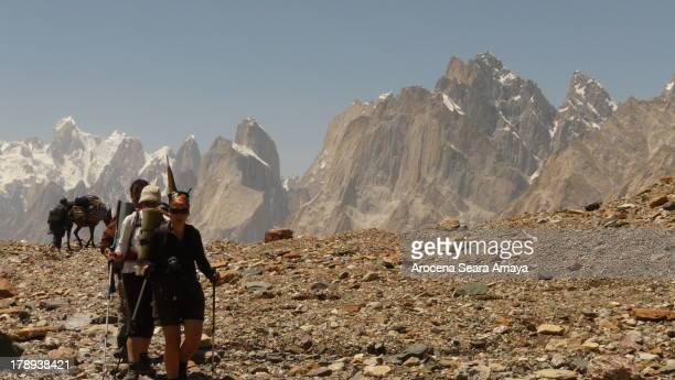 Mountaineers and porters in Trekking Baltoro. Baltoro Concordia Trek has been a highlight for trekkers, and has allowed thousands of the adventure...