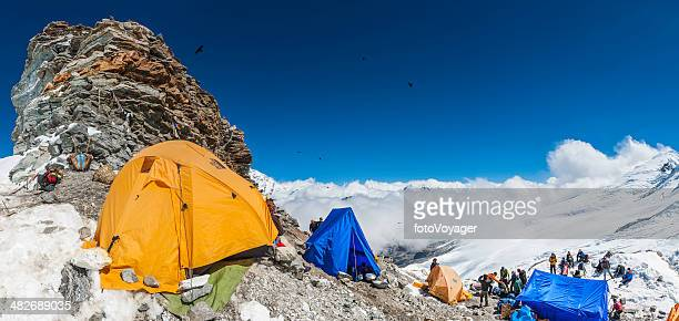 Mountaineers at expedition high camp of Mera Peak Himalayas Nepal