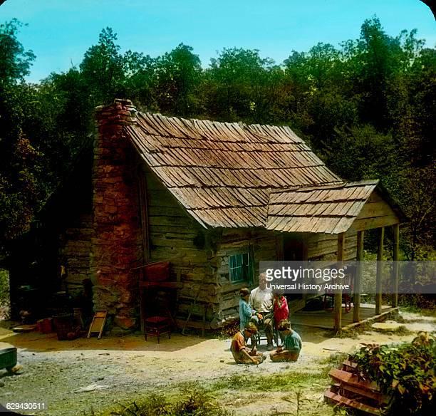 Mountaineer's Cabin Cumberland Gap Tennessee USA Magic Lantern Slide circa 1910