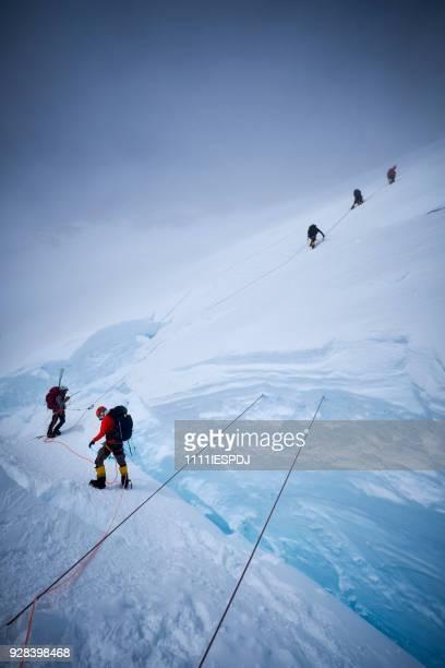 Bergbeklimmers klimmen de headwall langs de vaste touwen op Denali