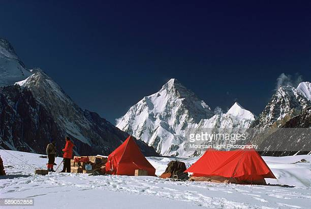 Mountaineers set up camp at Concordia The frozen summit of K2 rises in the distance Pakistan
