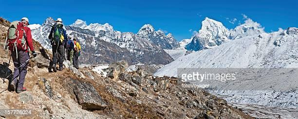 Mountaineers trekking in Everest National Park Himalayas Nepal