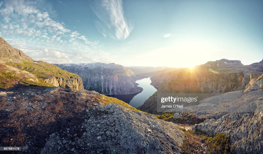 Mountainous landscape and fjord at sunset, Norway : Foto stock