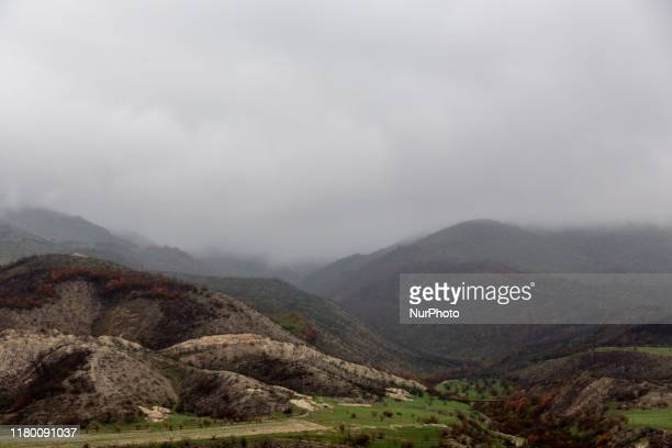 Mountainous landscape of Nagorno Karabach on October 10, 2019. The Republic is a subject of dispute between Azerbaijan and Armenians, it historically...