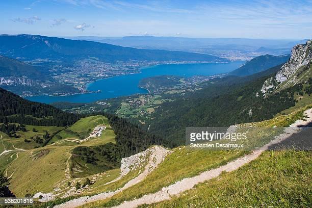 Mountainous landscape. Perialpine Lake Annecy.