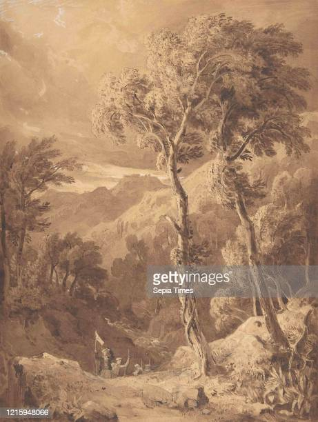 Mountainous Landscape with a Party of Travellers , 1818-29, Sepia ink and wash over graphite, with touches of gouache, sheet: 11 7/8 x 8 15/16 in. ,...