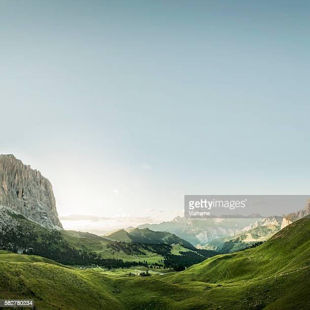 mountainous landscape with clear blue sky, sella joch, dolomites, italy - valle foto e immagini stock