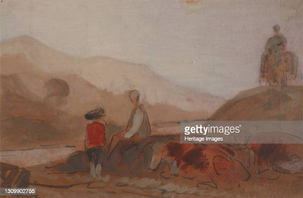 Mountainous Landscape with Figures by a Lake;Mountainous Landscape with Figure by a Lake, 1825 to 1830. Formerly attributed to Joseph Mallord William...