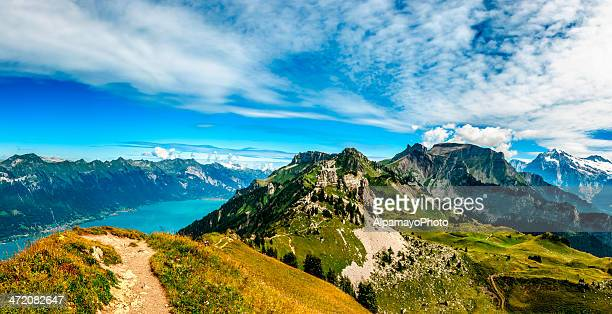 mountains above interlaken and brienze lakes - iii - switzerland stock pictures, royalty-free photos & images