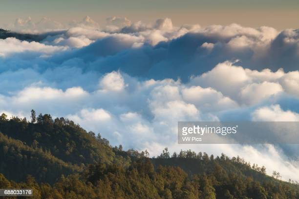 Mountains and clouds. Kelimutu National Park. Flores island. Indonesia, Asia.